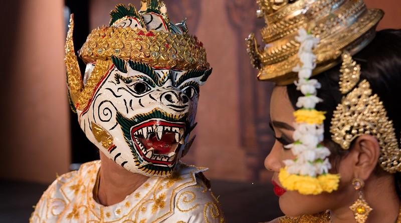 Dance of the Apsara. Actor playing Hanuman with Ravana's mermaid daughter.