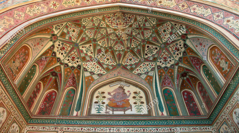 india-rajasthan-jaipur-amber-fort-interior-murals-wall-paintings-CERW6R